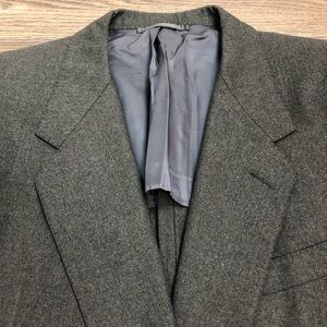 Hickey Freeman Charcoal Grey Herringbone Blazer 42